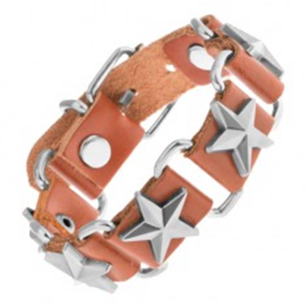Šperky eshop Náramok z hnedej syntetickej kože a oceľových oválov, hviezdy