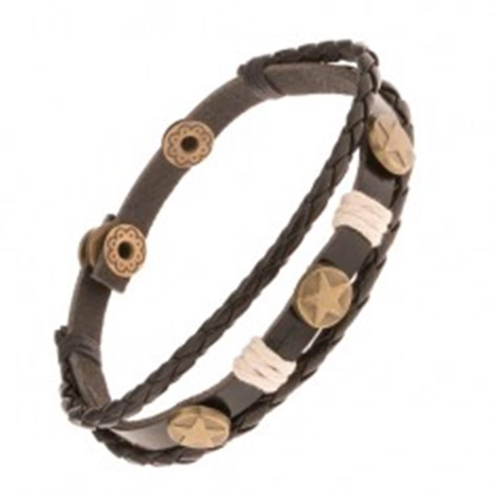 Šperky eshop Náramok zo syntetickej kože, tri kruhy s hviezdami, šnúrky béžovej farby