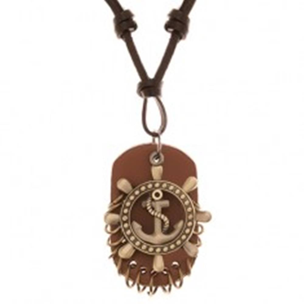 Šperky eshop Nastaviteľný kožený náhrdelník - kormidlo s kotvou, známka z kože
