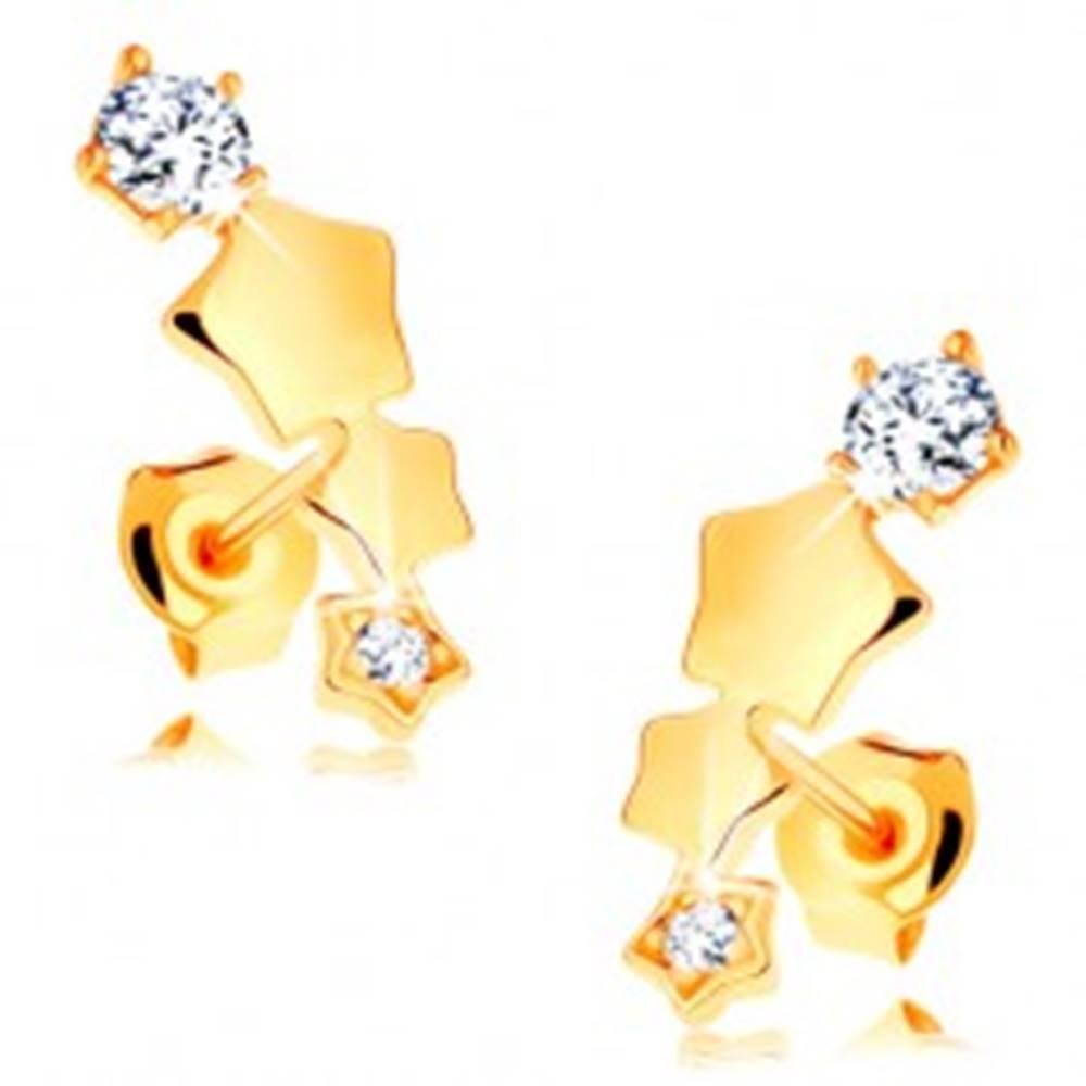 Šperky eshop Náušnice v žltom 14K zlate - hviezdičky tvoriace oblúk, puzetky