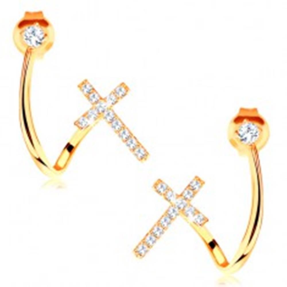 Šperky eshop Náušnice v žltom 14K zlate - lesklá zahnutá línia, zirkón a trblietavý krížik