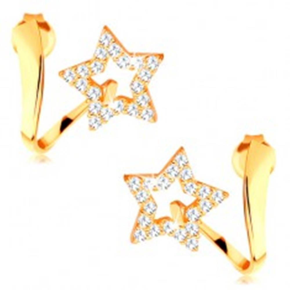 Šperky eshop Náušnice v žltom 14K zlate - zvlnená stuha s trblietavou kontúrou hviezdy