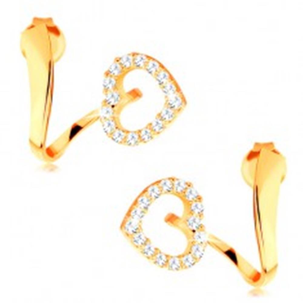 Šperky eshop Náušnice zo žltého 14K zlata - zvlnená stuha s trblietavou kontúrou srdca