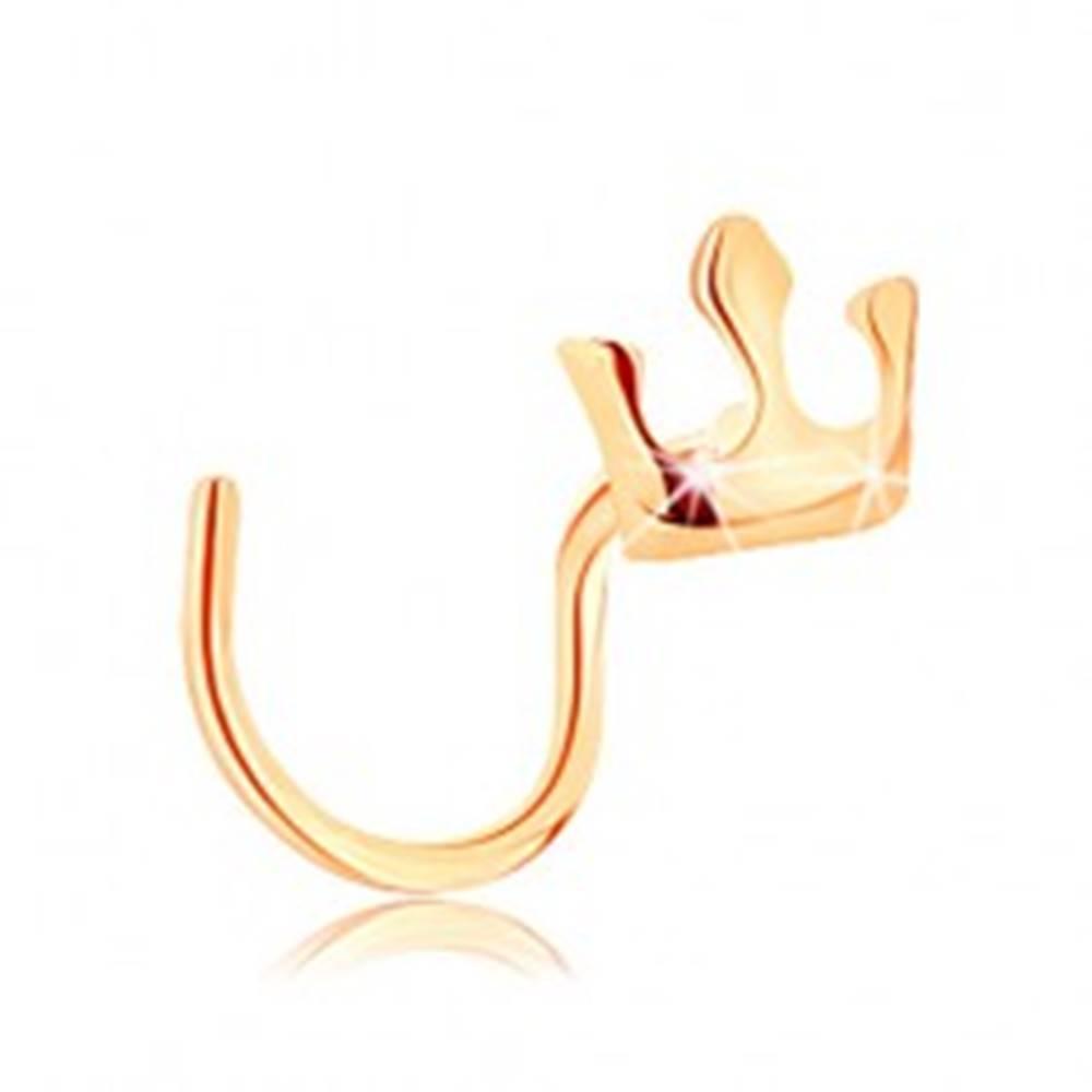 Šperky eshop Piercing do nosa v žltom 14K zlate - malá ligotavá korunka