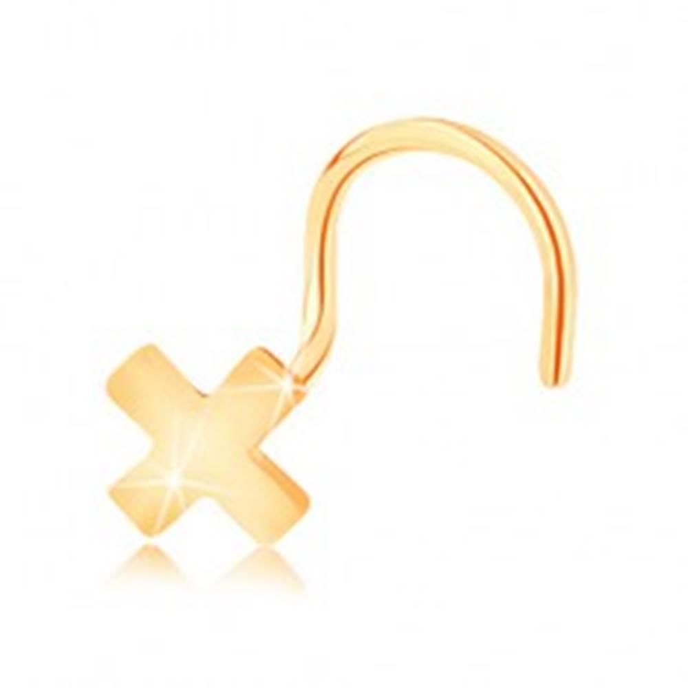 Šperky eshop Piercing do nosa v žltom 14K zlate - malé lesklé písmeno X, zahnutý