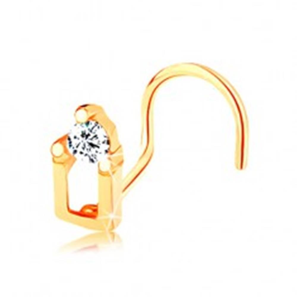 Šperky eshop Piercing do nosa zo žltého 14K zlata - domček so zirkónovou strechou