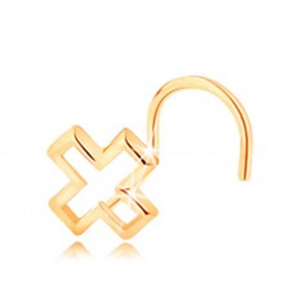 Šperky eshop Piercing do nosa zo žltého 14K zlata - kontúra písmena X, zahnutý