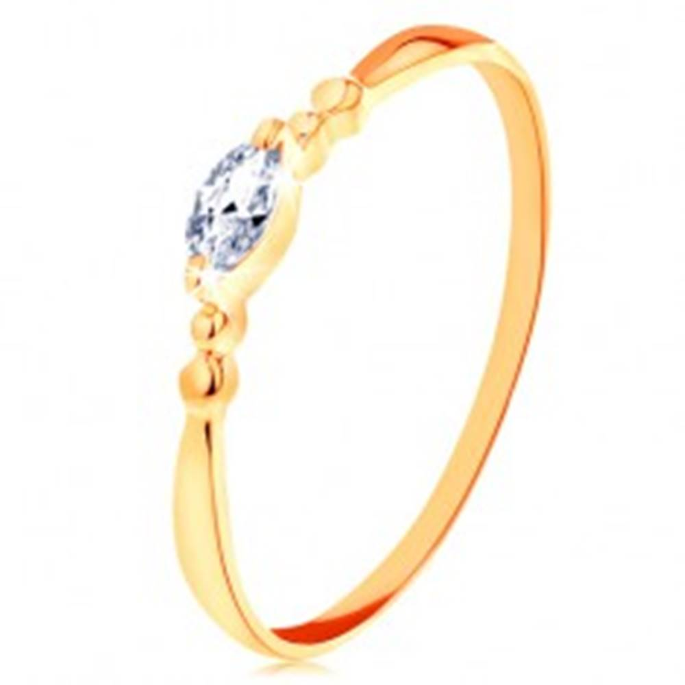 Šperky eshop Prsteň v žltom 14K zlate - číre zirkónové zrnko, guličky po stranách - Veľkosť: 49 mm