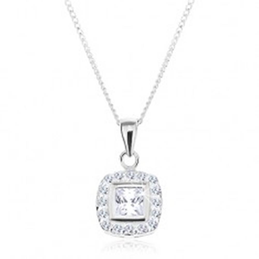 Šperky eshop Strieborný náhrdelník 925, prívesok na retiazke, číry zirkónový štvorec s lemom
