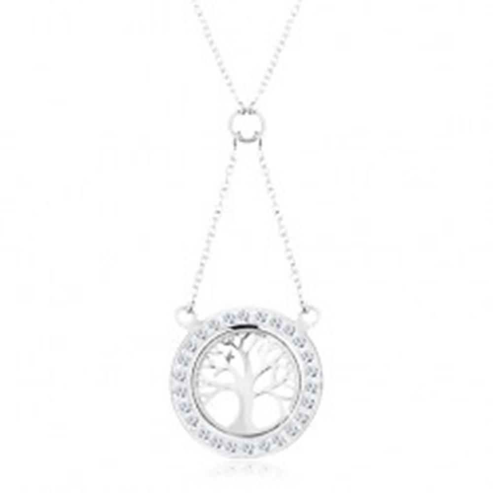 Šperky eshop Strieborný náhrdelník 925, retiazka a prívesok - strom života so zirkónovým lemom