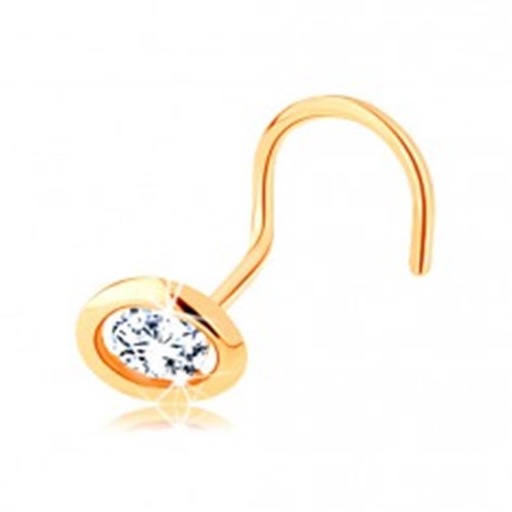 Šperky eshop Zahnutý piercing do nosa v žltom 14K zlate - oválna kontúra s čírym zirkónom