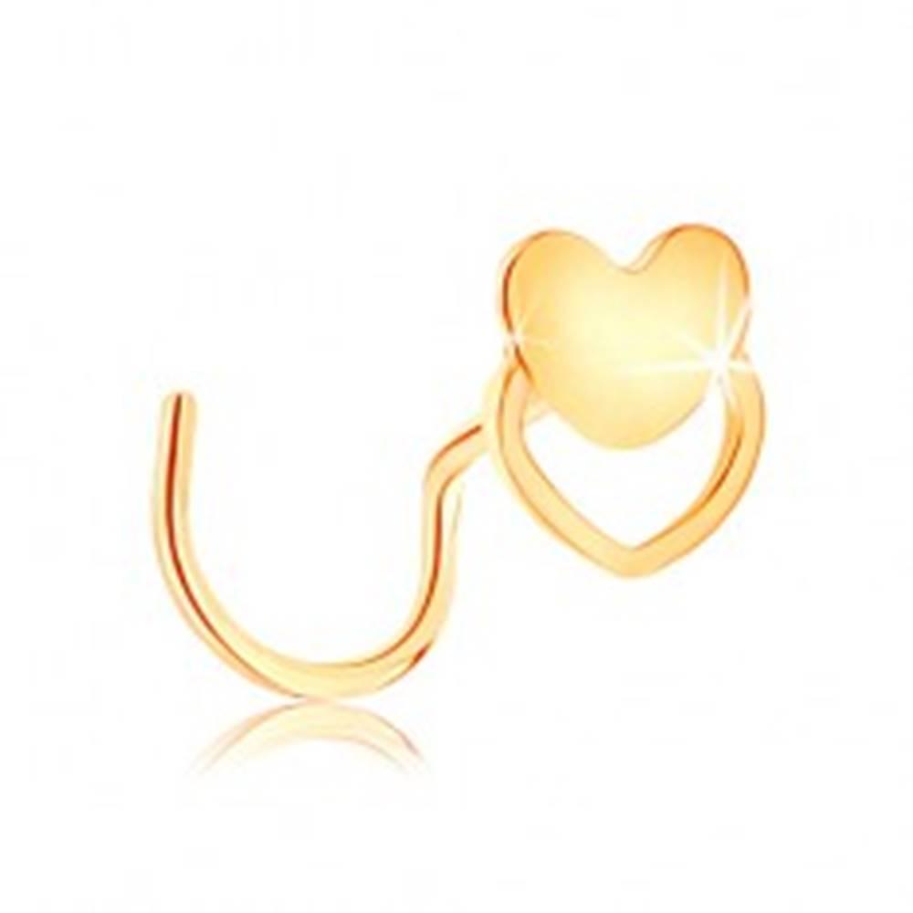 Šperky eshop Zahnutý piercing do nosa zo žltého 14K zlata - srdiečko a obrys srdca