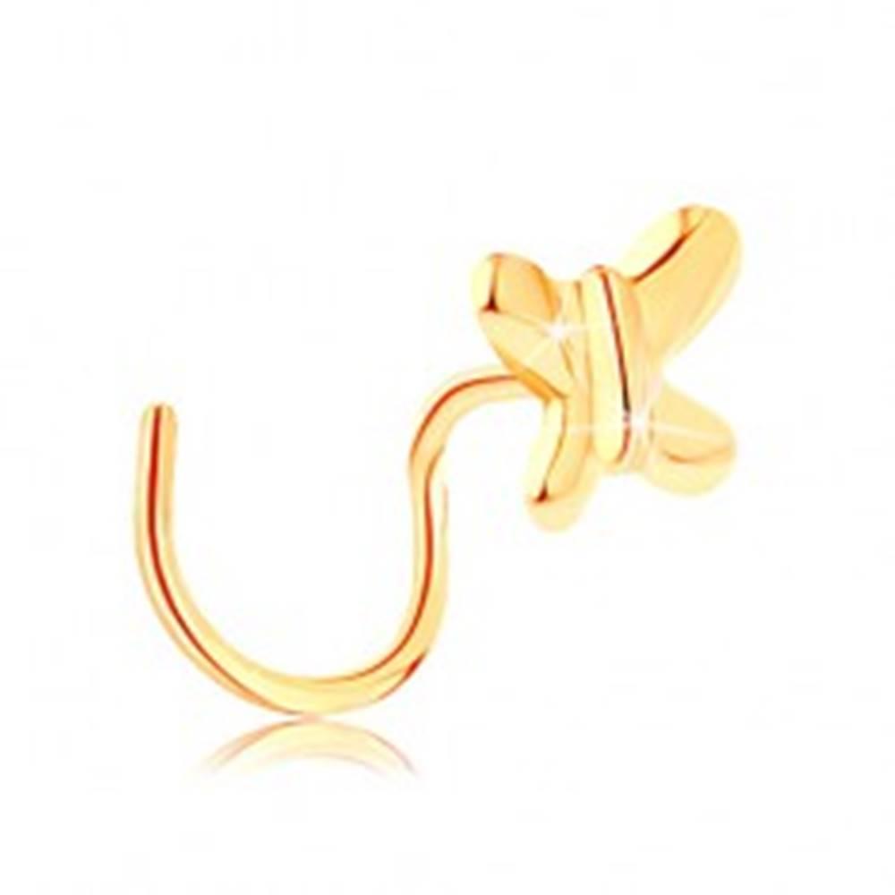 Šperky eshop Zahnutý piercing do nosa zo žltého zlata 585 - malý lesklý motýlik