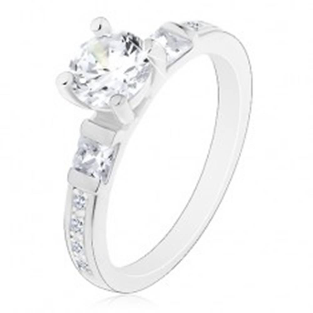 Šperky eshop Zásnubný prsteň, striebro 925, veľký okrúhly zirkón, trblietavé ramená - Veľkosť: 49 mm