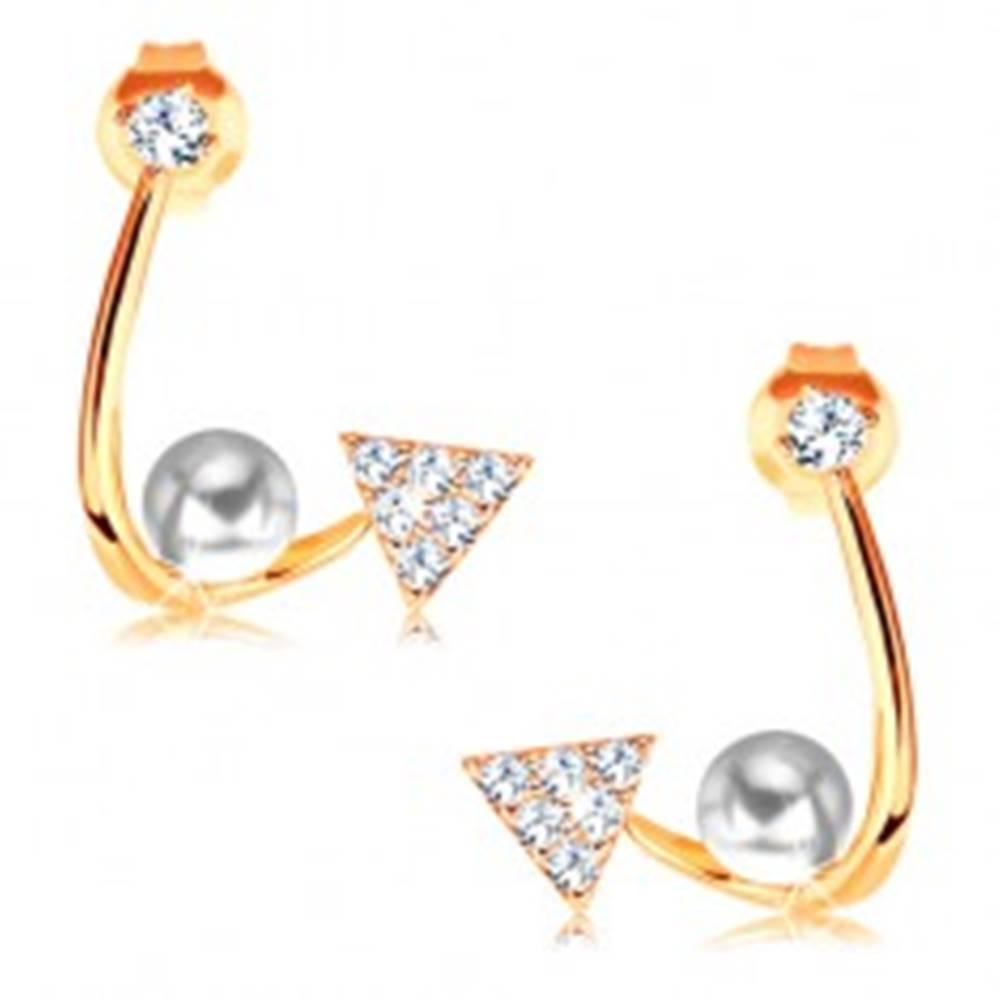 Šperky eshop Zlaté náušnice 585 - lesklá zahnutá línia, ligotavý trojuholník, perla a zirkón
