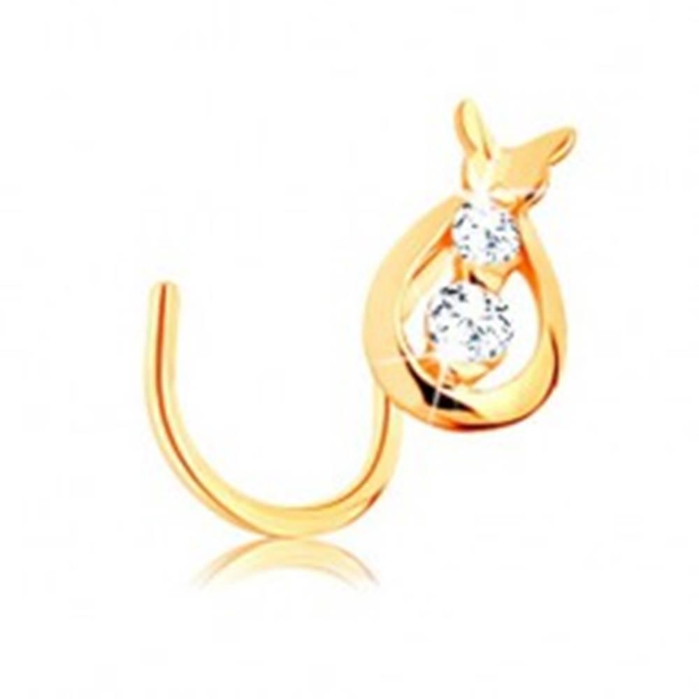 Šperky eshop Zlatý piercing 585, zahnutý - kvapka s čírymi zirkónmi a motýlik