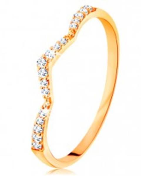 Šperky eshop Prsteň zo žltého 14K zlata - trblietavý pás, jemne zalomený do špica - Veľkosť: 49 mm