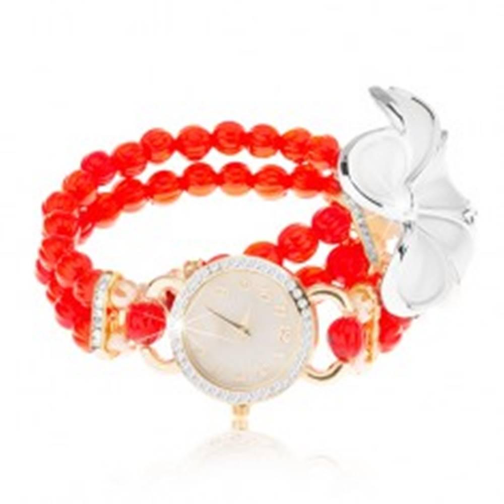 Šperky eshop Analógové hodinky, korálkový červený náramok, ciferník so zirkónmi, biely kvet