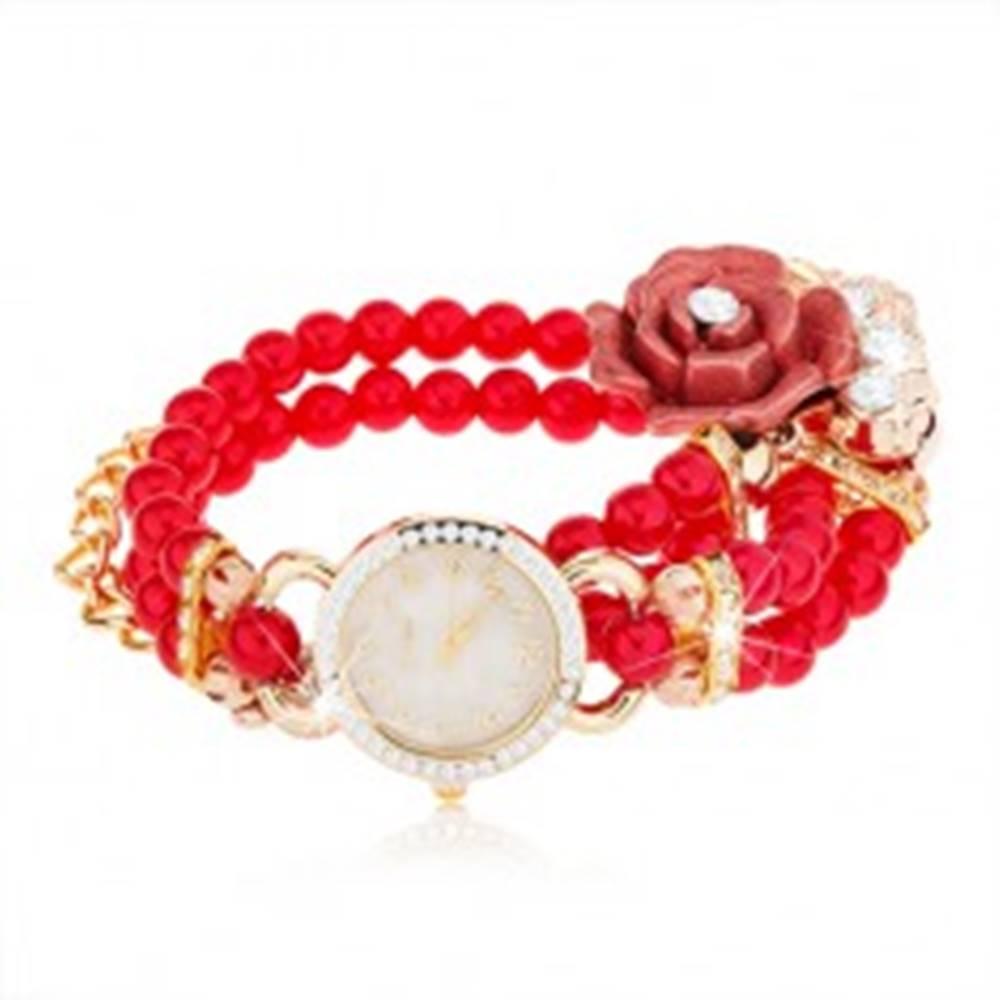 Šperky eshop Analógové hodinky, korálkový červený náramok, ciferník so zirkónmi, ruža