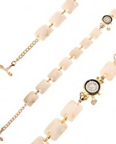 Náramkové hodinky, vypuklé obdĺžniky s béžovo-hnedým mramorovým vzorom