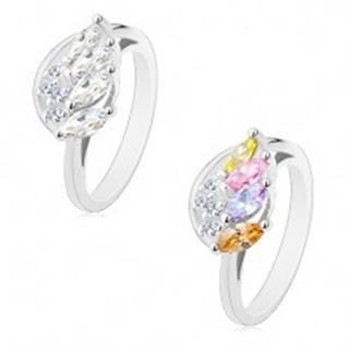 Ligotavý prsteň so zvlneným ramenom, trblietavé anjelské krídlo - Veľkosť: 54 mm, Farba: Mix