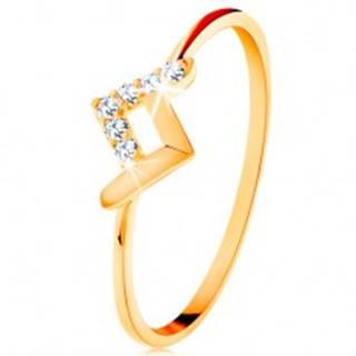 Ligotavý prsteň v žltom 14K zlate - lesklý a zirkónový zalomený pásik - Veľkosť: 49 mm