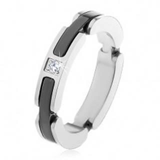 Oceľový prsteň striebornej farby, výrezy s keramickými pásmi, číry zirkón - Veľkosť: 50 mm