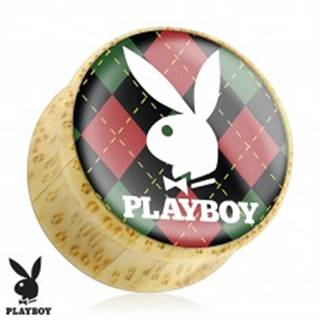 Plug do ucha z bambusového dreva, zajačik Playboy na károvanom podklade - Hrúbka: 10 mm