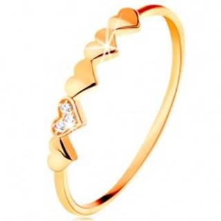 Prsteň v 14K žltom zlate - malé ligotavé srdiečka, číre zirkóniky - Veľkosť: 49 mm