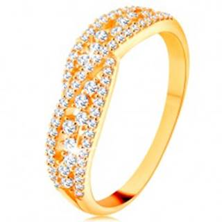 Prsteň v žltom 14K zlate - prepletené trblietavé línie zdobené čírymi zirkónmi - Veľkosť: 48 mm