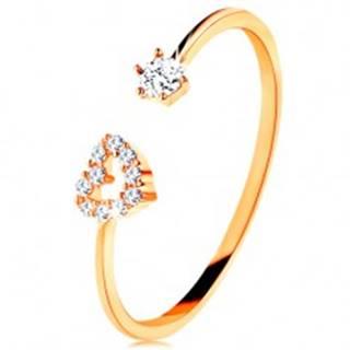 Prsteň v žltom zlate 585 - lesklé ramená ukončené obrysom srdca a čírym zirkónom - Veľkosť: 49 mm