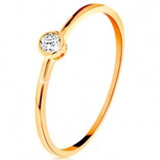 Prsteň v žltom zlate 585 - okrúhly číry zirkón v lesklej objímke - Veľkosť: 49 mm