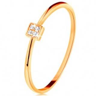 Prsteň v žltom zlate 585 - štvorček vykladaný okrúhlymi zirkónmi čírej farby - Veľkosť: 49 mm