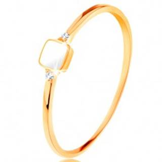 Prsteň zo žltého 14K zlata - biely glazúrovaný štvorček, drobné číre zirkóny - Veľkosť: 49 mm