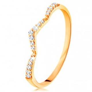 Prsteň zo žltého 14K zlata - trblietavý pás, jemne zalomený do špica - Veľkosť: 49 mm