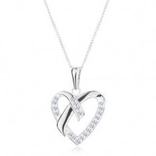 Strieborný náhrdelník 925, prívesok na retiazke, kontúra srdca, prekrížené línie