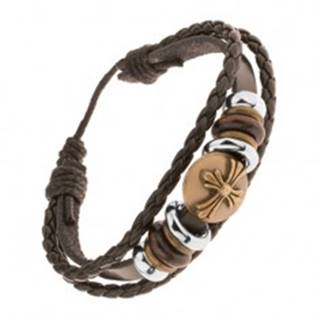 Tmavohnedý kožený náramok, korálky, kruh s ľaliovým krížom mosadznej farby