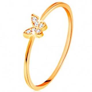 Zlatý prsteň 585 - motýlik zdobený okrúhlymi čírymi zirkónmi - Veľkosť: 49 mm