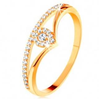 Zlatý prsteň 585 - rozdvojené zahnuté ramená, číra zirkónová kvapka - Veľkosť: 49 mm