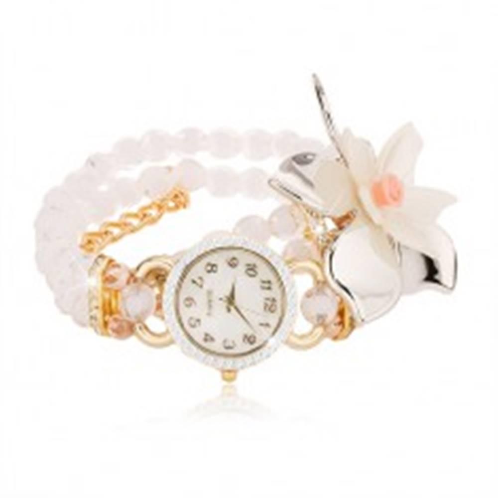 Šperky eshop Hodinky z priehľadných bielych korálok, ciferník so zirkónmi, veľký kvet