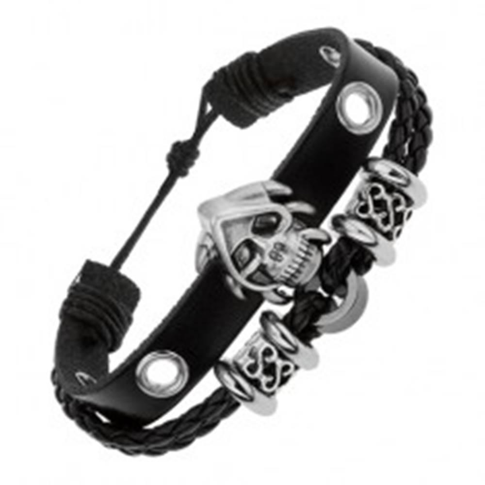 Šperky eshop Kožený multináramok čiernej farby, oceľové korálky, lebka s pazúrmi