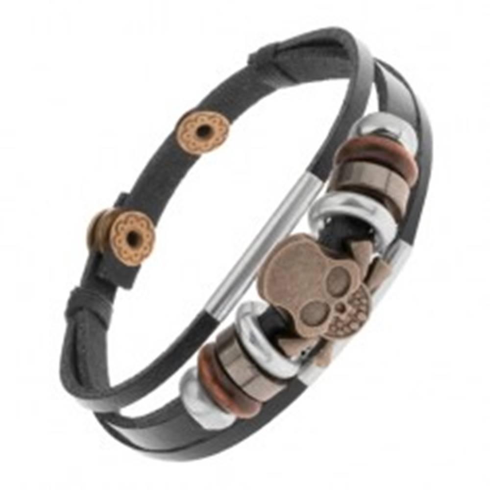 Šperky eshop Náramok z kožených pásov s korálkami z kovu a dreva, lebka
