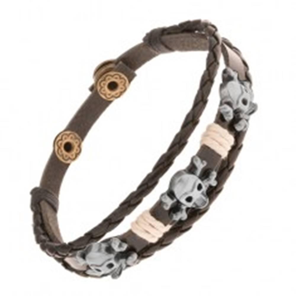 Šperky eshop Nastaviteľný kožený náramok, oceľové lebky s kosťami, béžové šnúrky