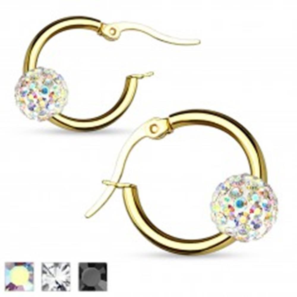 Šperky eshop Okrúhle náušnice z ocele 316L, hladký krúžok zlatej farby so Shamballa guličkou - Farba: Čierna