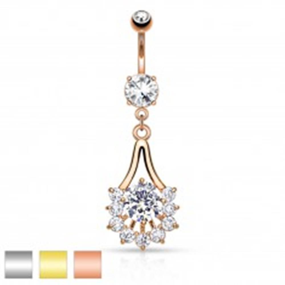 Šperky eshop Piercing do pupka z chirurgickej ocele, kontúra slzy zdobená čírymi zirkónmi - Farba piercing: Medená