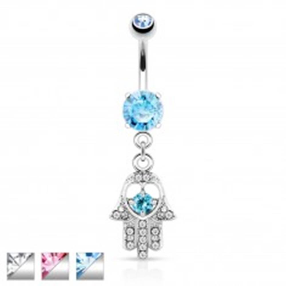 Šperky eshop Piercing do pupka z chirurgickej ocele, ruka Hamsa s výrezom srdca a zirkónmi - Farba zirkónu: Aqua modrá - Q