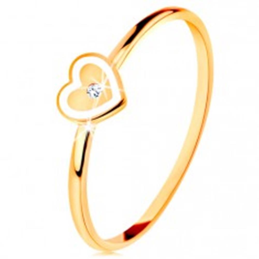 Šperky eshop Prsteň v žltom 14K zlate - srdiečko s bielym okrajom a čírym zirkónikom - Veľkosť: 49 mm