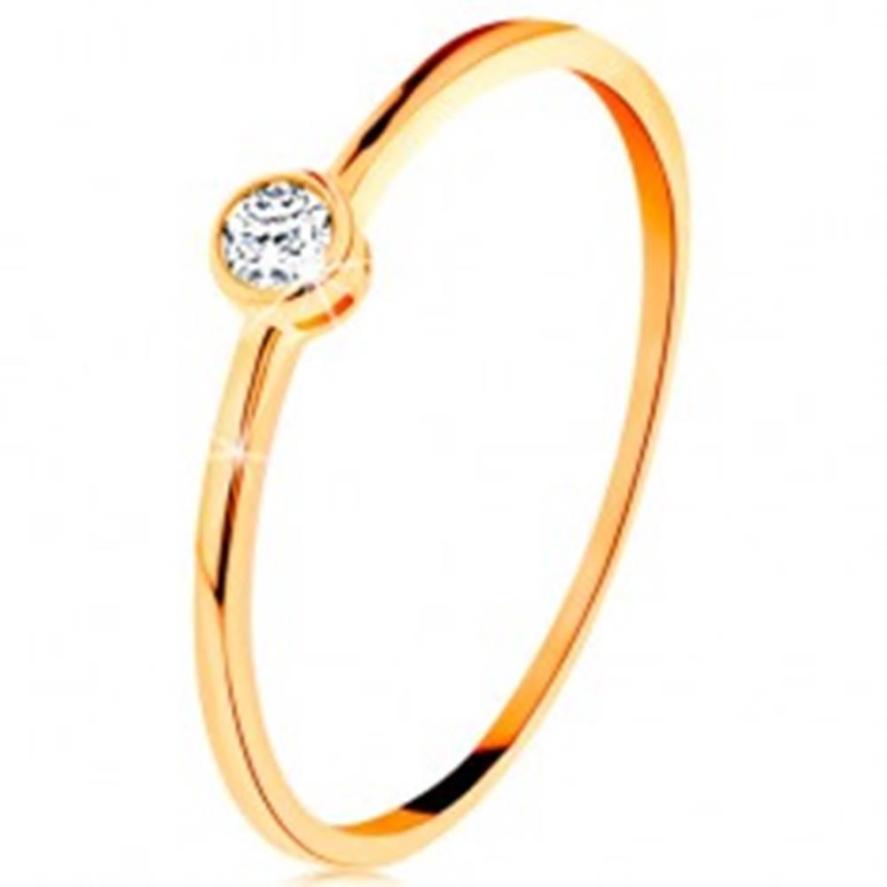 Šperky eshop Prsteň v žltom zlate 585 - okrúhly číry zirkón v lesklej objímke - Veľkosť: 49 mm