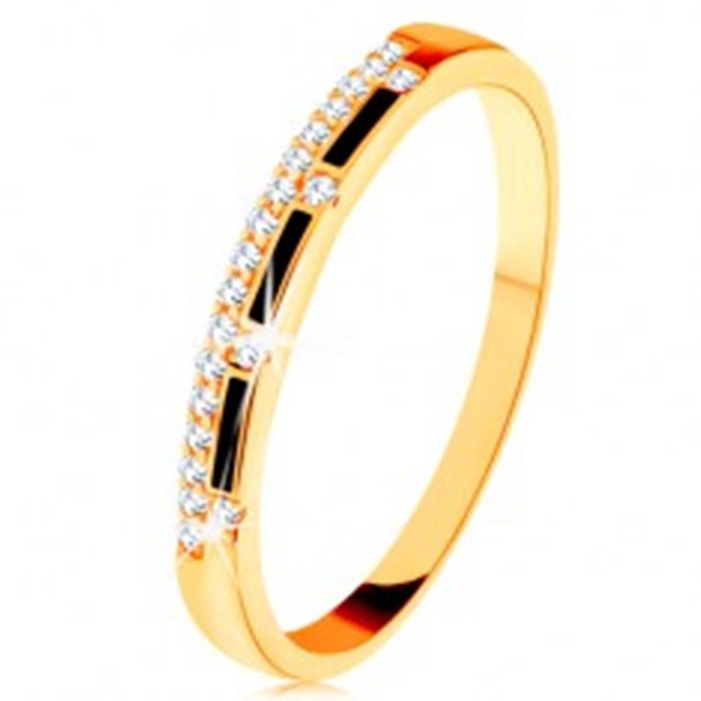 Šperky eshop Prsteň zo žltého 14K zlata - pásy čiernej glazúry, číra zirkónová línia - Veľkosť: 50 mm