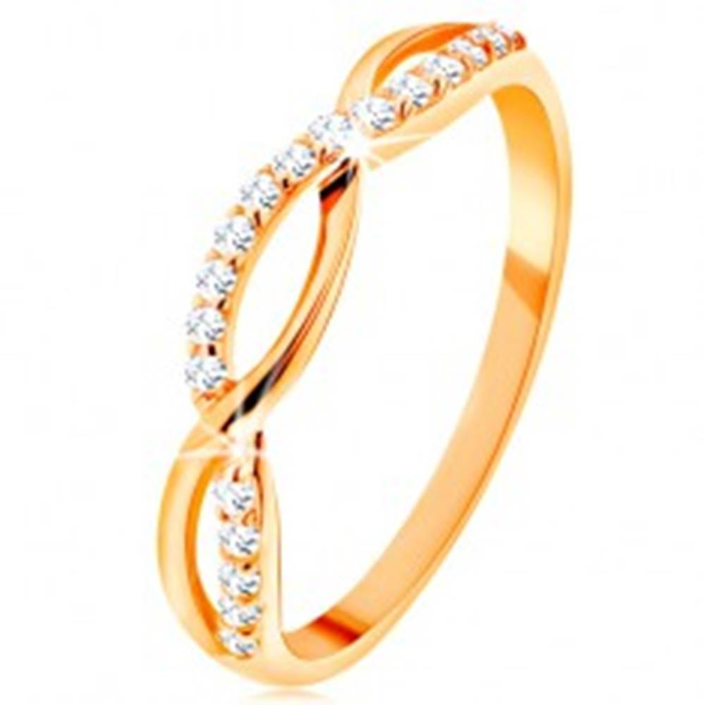 Šperky eshop Prsteň zo žltého 14K zlata - prepletené vlnky - hladká a zirkónová - Veľkosť: 49 mm